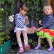 Two girls eating apples, playing dogs toys — Stock Video #31680409