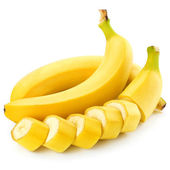 Sliced bananas isolated on white background — Stock Photo