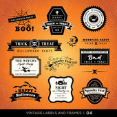 Vintage Halloween labels and frames — Stock Vector