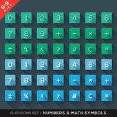 Zahlen und mathematische symbole flach icons set mit langen schatten — Stockvektor