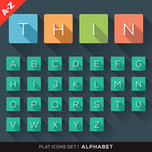 A-Z Alphabet Flat Icons Set — Stock Vector