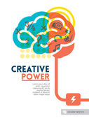 Creative brain Idea concept background design layout for poster — Stok Vektör