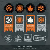Four seasons symbol vector illustration for postage stamp label  — Vettoriale Stock