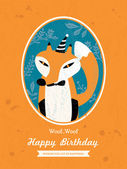Conception de cartes d'anniversaire animaux de dessin animé de Fox — Vecteur