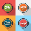 Call Center Customer Service 24 hours Support Flat Icon set — Stock Vector #44116427