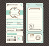 Vintage style Boarding Pass Ticket Wedding Invitation Template V — Stock Vector