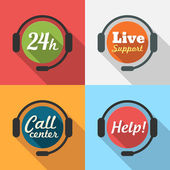 Call Center  Customer Service  24 hours Support Flat Icon set — Stock Vector