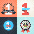 Flat Design First Place Winner ribbons and badges — Stockvektor  #44206009
