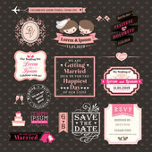 Wedding Elements labels and frames Vintage Style — Stock Vector