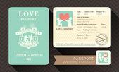 パスポートの結婚式の招待状 — ストックベクタ