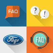 FAQs icons set flat design — Stock Vector