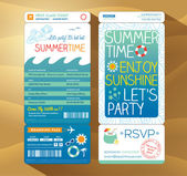 Summertime holiday party boarding pass background template for s — Stock Vector