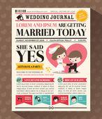 Cartoon Newspaper Wedding Invitation card Design — Stock Vector