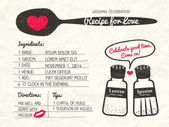 Recipe for Love creative Wedding Invitation — Stock Vector