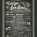 Recipe for love chalkboard Wedding Invitation card — Stock Vector #47103009