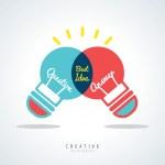 Best Idea Creative light bulb Concept Illustration — Stok Vektör