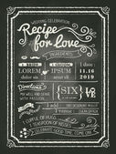Recipe for love chalkboard Wedding Invitation card — Stock Vector