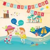 Summer cartoon background vector clip art — Stock Vector