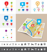 Gevouwen stadsplan met gps pin pictogrammen en markeringen — Stockvector