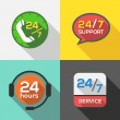 Customer Service 24 hours Support Flat Icon set — Stock Vector #48159961