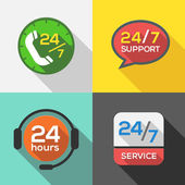 Customer Service 24 hours Support Flat Icon set — Stock Vector