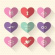Heart symbol flat design icon set with love and wedding concept — Stock Vector #48403613
