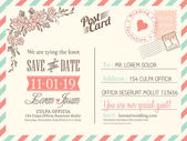 Vintage postcard background vector template for wedding invitati — Vettoriale Stock