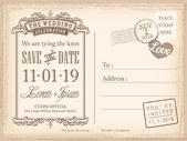 Vintage postcard save the date background for wedding invitation — Stock Vector