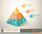 Financial planning pyramid infographic chart vector design eleme — Stock Vector
