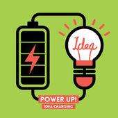Lightbulb Idea Charging Battery Power Vector — Stock Vector