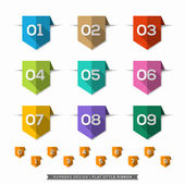 Number in Bookmark Label long shadow Flat Icons Set — Stock Vector