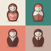 Russian doll groom and bride wedding icons — Stock Vector