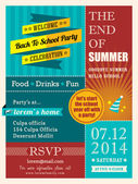 End of summer party poster or card design template layout  — Stock Vector