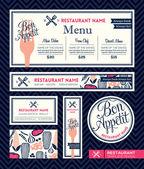 Bon appetit Restaurant Set Menu Graphic Design Template — Stock Vector