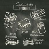 Sandwich doodle menu drawing on chalk board background — Stock Vector