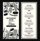 Black and White Restaurant Menu Design Template Layout — Stock Vector