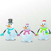 Three snowmen — Stock Vector