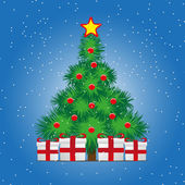 Christmas treer on snowy blue background — Stock Vector