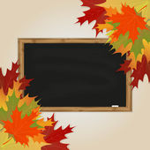 Maple leaves and black chalkboard — Vector de stock