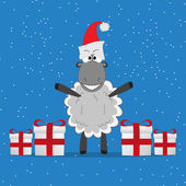 Christmas funny sheep with gifts — Stock Vector