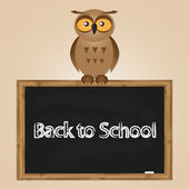 Funny owl with school board — Stock Vector