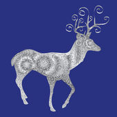 Silver silhouette of a deer on a blue background. — Stock Vector