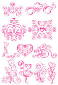 Pink elements of the pattern with hearts — Stock Vector