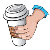 Hand with coffee. cartoon Style — Stockvektor