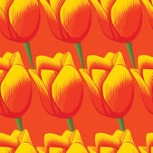 Seamless orange background with red tulips. — Vector de stock