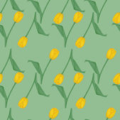 Seamless green background with yellow tulips — Vector de stock
