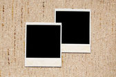 Empty photo frames on linen texture — Stock Photo