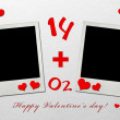 Valentine day photo frames with paper hearts — Stock Photo