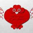 Valentine's day owl made of paper — Stock Photo