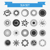 Vector set of different abstract suns — Stockvektor